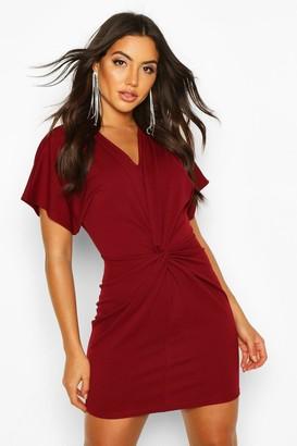 boohoo Crepe Twist Front Mini Dress