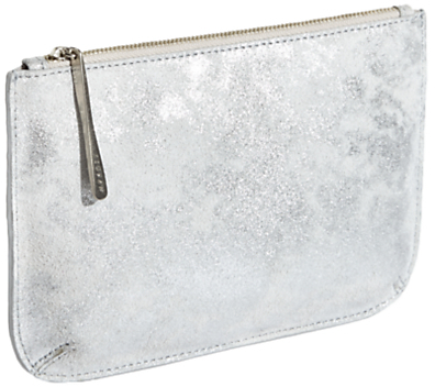 Jigsaw Alba Medium Textured Leather Pouch, Silver
