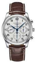 Longines Master Stainless Steel and Textured Leather Strap Watch- L27594783