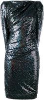Talbot Runhof fitted cape dress - women - Nylon/Spandex/Elastane/Cupro/Viscose - 34