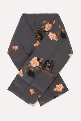 Dries Van Noten Floral-print Quilted Wool Wrap - Gray
