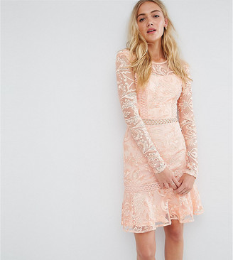 True Decadence Tall Allover Premium Lace Skater Dress With Fluted Hem-Pink