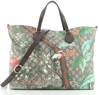 Gucci Convertible Soft Tote Tian Print GG Coated Canvas Medium