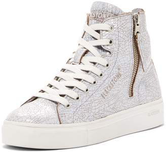 Blackstone Crackled Leather High-Top Sneaker