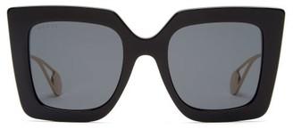 Gucci Square Acetate And Metal Sunglasses - Black