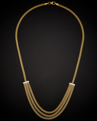 Italian Gold 14K Two-Tone Saduza Link Triple Layer Necklace