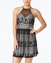 Trixxi Juniors' Contrast Lace Tie-Back Dress