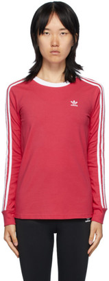 adidas Pink 3-Stripes Long Sleeve T-Shirt