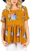 Dearlovers Women Casual Floral Print Short Sleeve Summer Tunic Blouse Tops