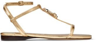 Jimmy Choo Logo Plaque Flat Sandals