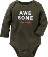 Carter's Long-Sleeve Black Awesome Slogan Bodysuit - Baby Boys newborn-24m