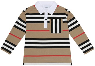 BURBERRY KIDS Icon Stripe cotton polo top