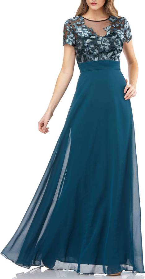 JS Collections Short Sleeve Embroidered Bodice Evening Dress