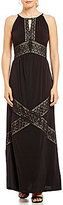 London Times Lace Trim Maxi Dress