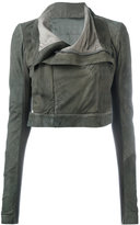 Rick Owens concealed zip biker jacket - women - Silk/Cotton/Lamb Skin/Virgin Wool - 40