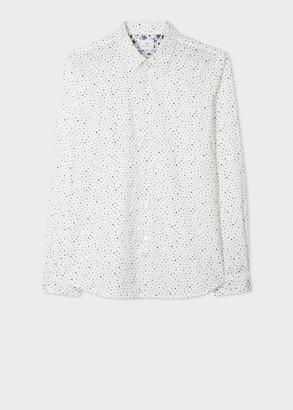 Paul Smith Men's Tailored-Fit White 'Painted Spot' Print Cotton Shirt
