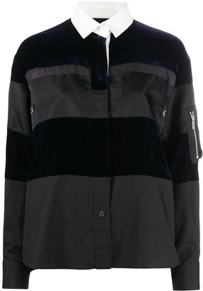 Sacai Velvet-Panel Pull-Over Shirt