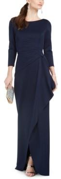 Eliza J Petite Side-Ruffle Gown