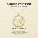 Catherine Weitzman 18ct Gold Plated Large Gypsophila Round Pendant Necklace, Gold/White