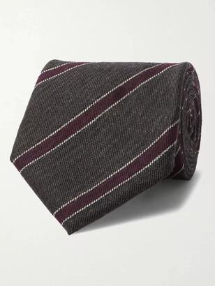 Bigi - 9cm Striped Cashmere-Jacquard Tie - Men - Gray