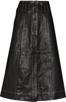 Thumbnail for your product : Ganni A-line lambskin midi skirt