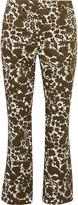 Prada Cropped printed cotton-blend bootcut pants