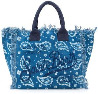 MC2 Saint Barth Paisley Print Frayed Beach Bag