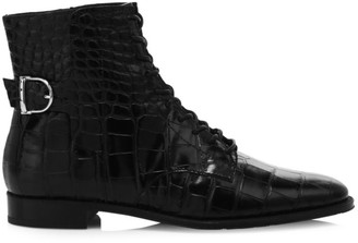Tod's Croc-Embossed Leather Ankle Boots
