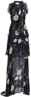 ML Monique Lhuillier Floral Print Ruffle Dress