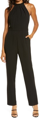 Julia Jordan Pleat Mock Neck Jumpsuit
