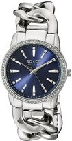 SO&CO New York Women's 5071.2 SoHo Quartz Crystal Accent Blue Dial Chain Link Bracelet Watch