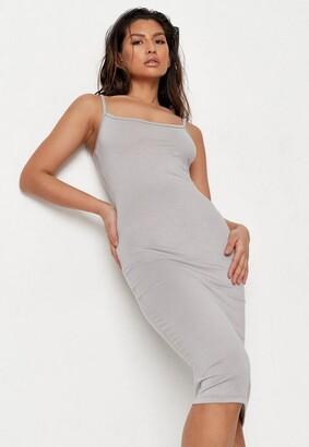 Missguided Grey Cami Midi Dress