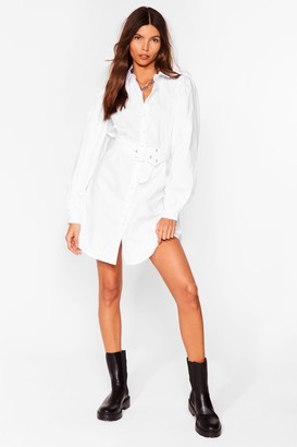 Nasty Gal Womens Truth Shirts Belted Mini Dress - White - L, White