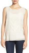 Lucky Brand Embroidered Woven Tank