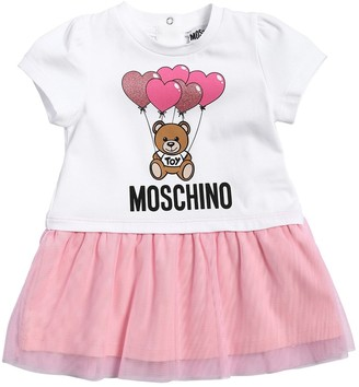 Moschino Printed Cotton Jersey & Tulle Dress