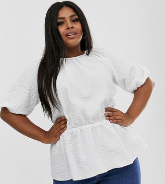Asos DESIGN Curve short sleeve waisted top in textured fabric-White