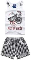 XiaoYouYu Little Boy's Motorcycle Soft Cotton Tank Tops Plaid Shorts Sets 2PCS US Size 4T