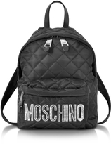 Moschino Black Quilted Nylon Small Backpack w/Silver Laminated Logo