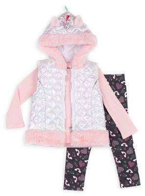 Little Lass Little Girl's Unicorn & Rainbow 3-Piece Faux Fur-Trim Vest, Top & Leggings Set