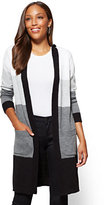 New York & Co. Hooded Duster Cardigan - Stripe