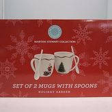 Martha Stewart Collection Set Of 2 Mugs With Spoon Holiday Garden Christmas