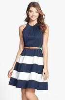 Eliza J Stripe Skirt Cotton Sateen Fit & Flare Dress (Regular & Petite)