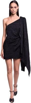 NERVI One Shoulder Satin Jacquard Mini Dress