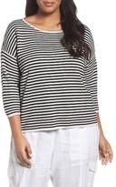 Eileen Fisher Plus Size Women's Stripe Silk & Organic Cotton Pullover