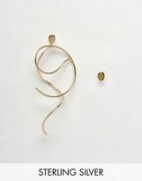 Asos Gold Plated Sterling Silver Mismatch Swirl Earrings