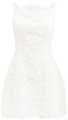 Carolina Herrera Curved-neck Floral Guipure-lace Mini Dress - White