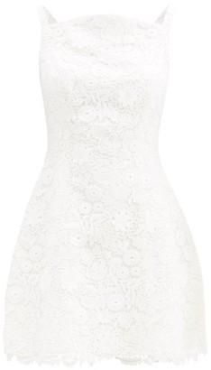Carolina Herrera Curved-neck Floral Guipure-lace Mini Dress - White