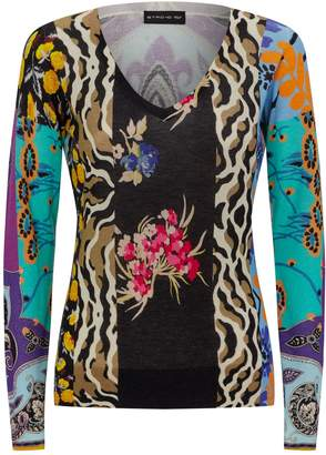 Etro Silk-Cashmere Mixed Print Sweater