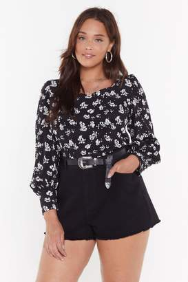 Nasty Gal Womens Long Time No Seed Floral Plus Blouse - Black - 16, Black