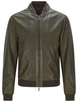 HUGO BOSS Meritz Regular Fit, Perforated Nappa Leather Jacket 38RGreen